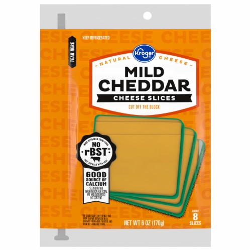 Kroger® Mild Cheddar Cheese Slices Perspective: front