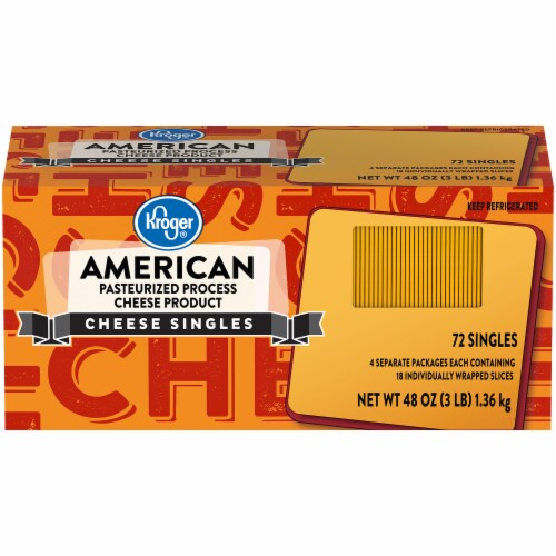 Kroger® American Cheese Singles 72 Count Package Perspective: front