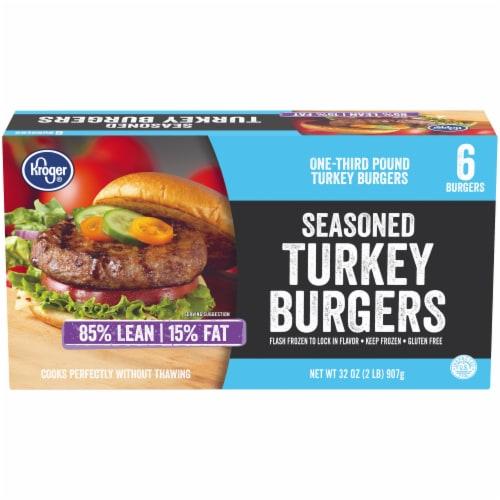 Kroger® 85% Lean Seasoned Turkey Burgers Perspective: front