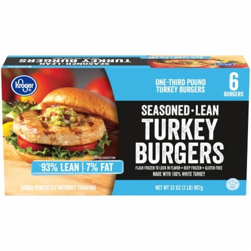 Kroger® 93% Lean Seasoned Frozen Turkey Burgers Perspective: front