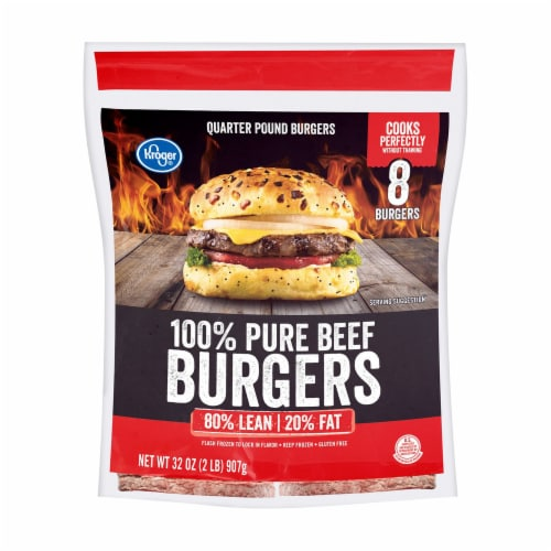 Kroger® 100% Pure Ground Beef Quarter Pound Burgers Perspective: front