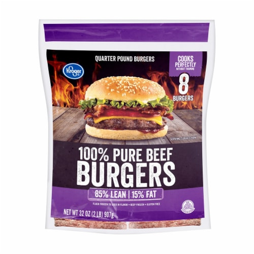 Kroger® 100% Pure Ground Beef Quarter Pound Burgers 8 Count Perspective: front