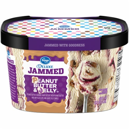 Kroger® Deluxe Jammed Peanut Butter & Jelly Ice Cream Perspective: front