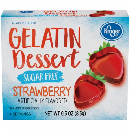Kroger® Sugar Free Strawberry Flavored Gelatin Dessert Perspective: front