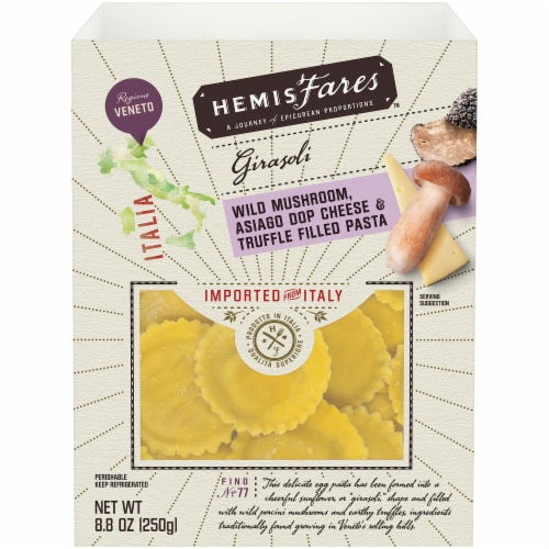 HemisFares™ Mushroom Asiago Cheese & Truffle Filled Pasta Perspective: front
