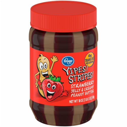 Kroger® Yipes Stripes Strawberry Jelly & Creamy Peanut Butter Perspective: front