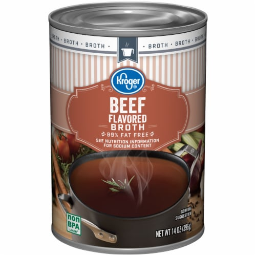 Kroger® 99% Fat Free Beef Broth Can Perspective: front