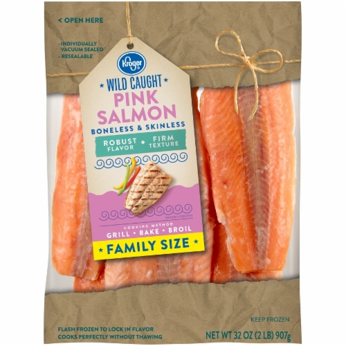 Kroger® Wild Caught Boneless & Skinless Pink Salmon Fillets Family Size Perspective: front