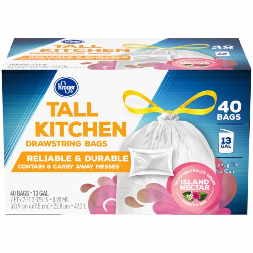 Kroger® Island Nectar Scented 13 Gallon Tall Kitchen Drawstring Trash Bags Perspective: front