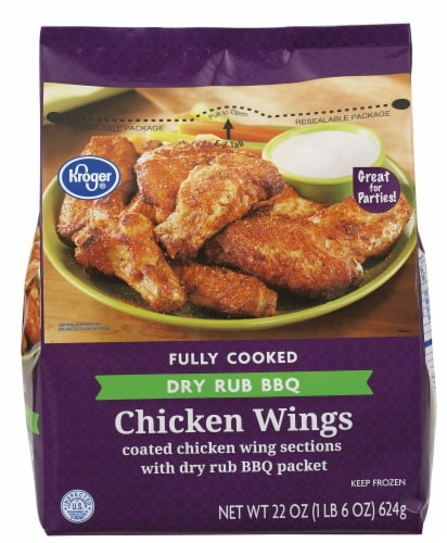 Kroger® Fully Cooked Dry Rub BBQ Chicken Wings Perspective: front