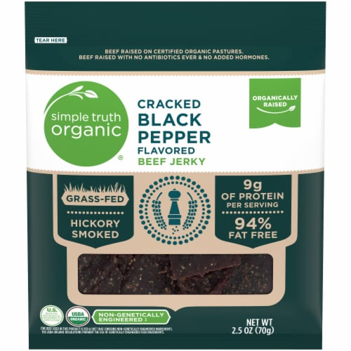 Simple Truth Organic™ Cracked Black Pepper Flavored Beef Jerky Bag Perspective: front