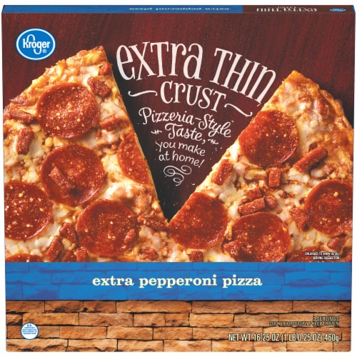 Kroger® Extra Pepperoni Extra Thin Crust Pizza Perspective: front