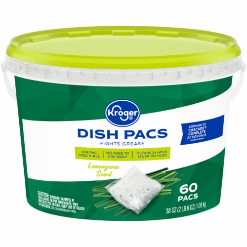 Kroger® Lemongrass Dishwashing Pacs Perspective: front