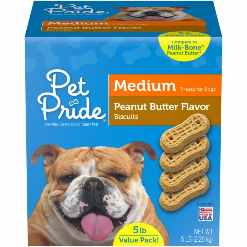 Pet Pride® Peanut Butter Flavored Medium Dog Treat Biscuits Value Pack Perspective: front