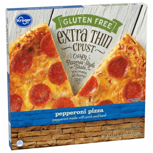 Kroger® Gluten Free Extra Thin Crust Pepperoni Pizza Perspective: front