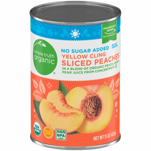 Simple Truth Organic™ No Sugar Added Yellow Cling Sliced Peaches Perspective: front