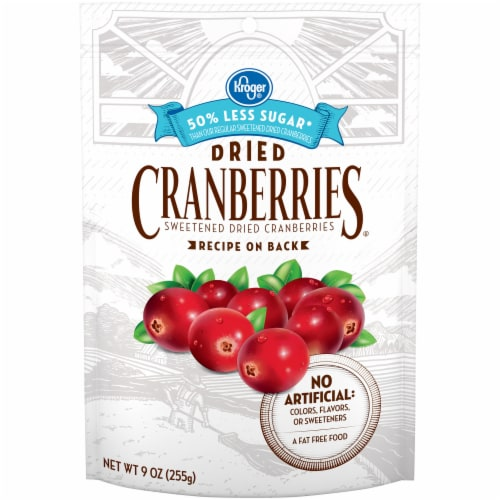 Kroger® Reduced Sugar Sweetened Dried Cranberries Perspective: front
