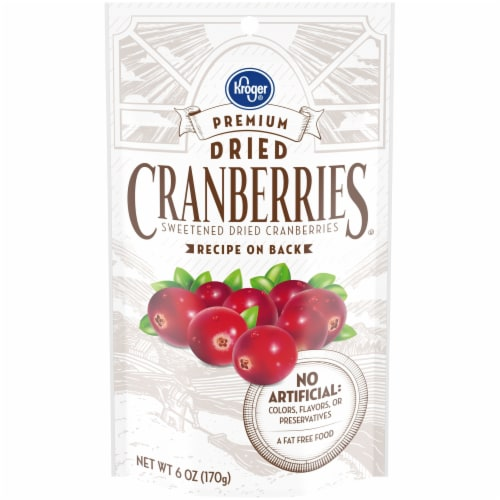 Kroger® Premium Sweetened Dried Cranberries Bag Perspective: front