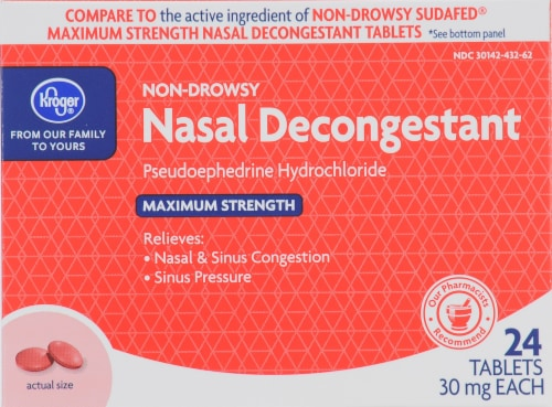 Kroger® Non-Drowsy Nasal Decongestant Tablets 30mg 24 Count Perspective: front