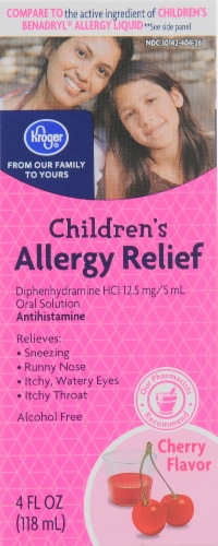 Kroger® Cherry Liquid Allergy Relief Perspective: front