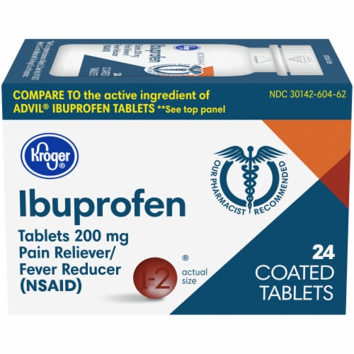 Kroger® Ibuprofen 200 mg Coated Tablets Perspective: front