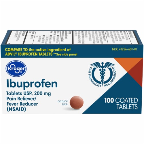 Kroger® Ibuprofen Pain Reliever Coated 200mg Tablets Perspective: front