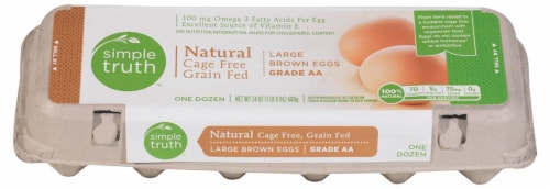 Simple Truth™ Natural Cage Free Grain Fed Grade AA Large Brown Eggs Perspective: front