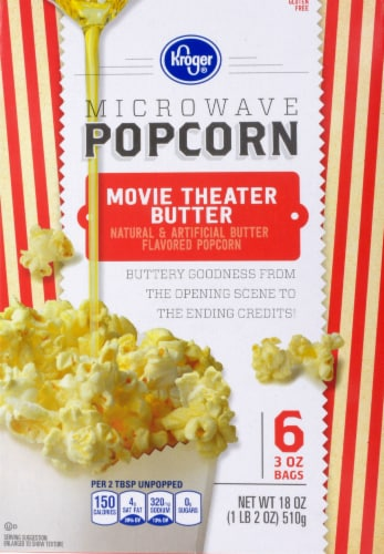 Kroger® Movie Theater Butter Gluten Free Microwave Popcorn Perspective: front