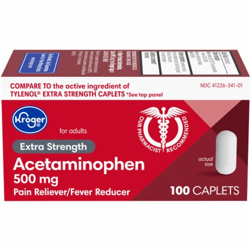 Kroger® Extra Strength Acetaminophen Pain Relief Caplets 500mg Perspective: front