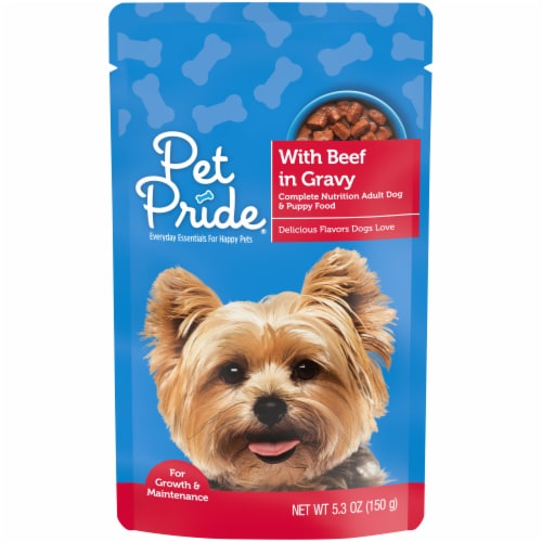 Pet Pride® Beef in Gravy Wet Dog Food Pouch Perspective: front