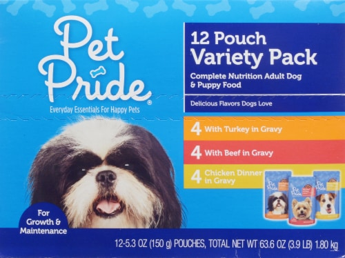 Pet Pride® Adult Dog & Puppy Wet Dog Food Pouches Variety Pack Perspective: front