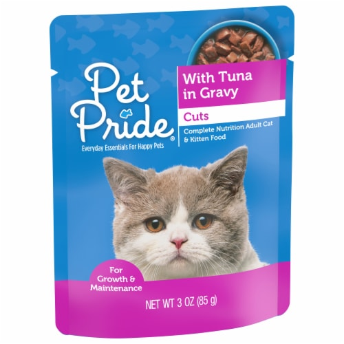 Pet Pride® Tuna in Gravy Cuts Wet Cat Food Pouch Perspective: front