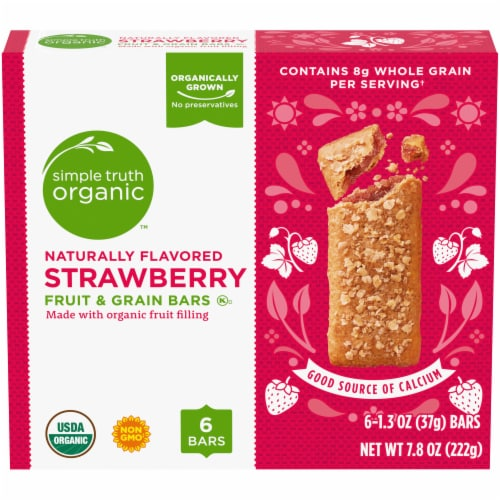 Simple Truth Organic™ Strawberry Fruit and Grain Bars 6 Count Perspective: front