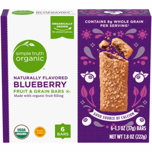 Simple Truth Organic™ Blueberry Fruit and Grain Bars Perspective: front