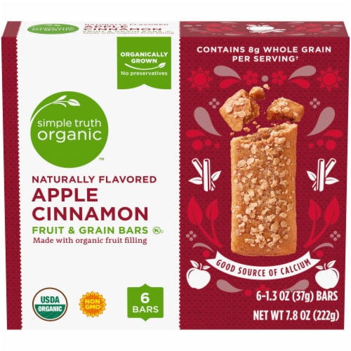 Simple Truth Organic™ Apple Cinnamon Fruit and Grain Bars 6 Count Perspective: front