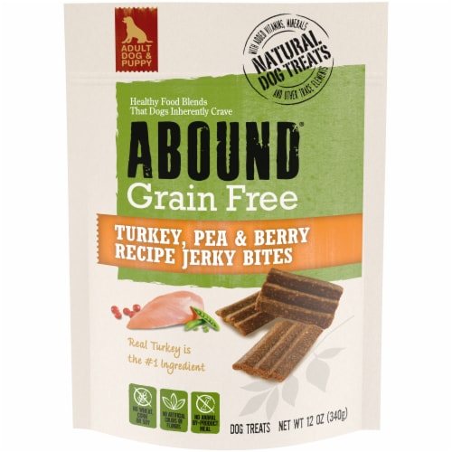 Abound™ Grain Free Turkey Pea & Cranberry Recipe Jerky Bites Dog Treats Perspective: front