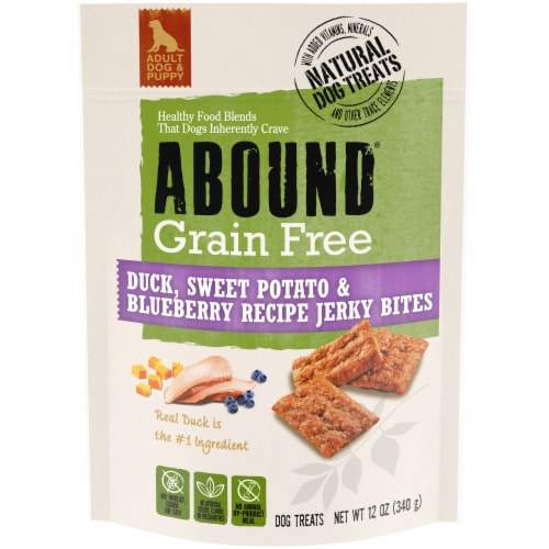 ABOUND® Grain Free Duck Sweet Potato & Blueberry Recipe Jerky Bites Dog Treats Perspective: front