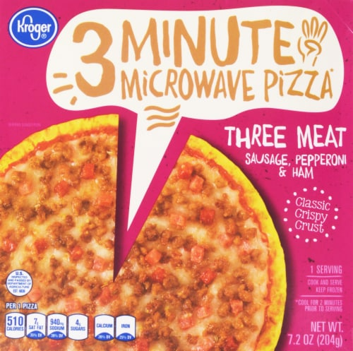 Kroger® 3 Minute Microwave Three Meat Pizza Perspective: front