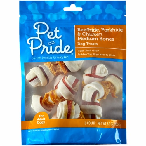 Pet Pride® Pork Beef & Chicken Medium Bones Perspective: front
