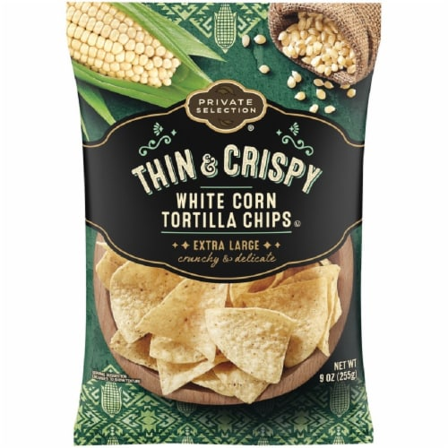 Private Selection® Thin & Crispy Extra Large White Corn Tortilla Chips Perspective: front