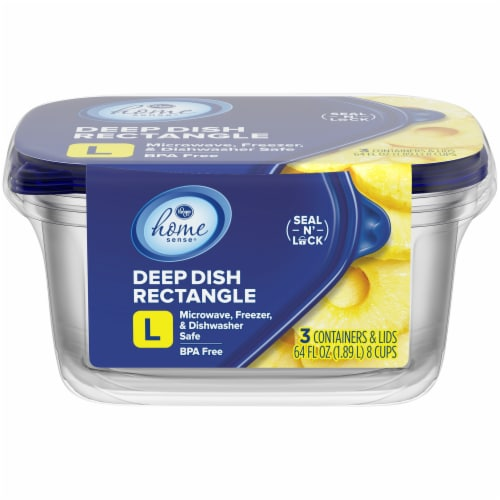 Kroger® Large Deep Dish Disposable Food Containers & Lids - 3 Pack - Clear/Blue Perspective: front