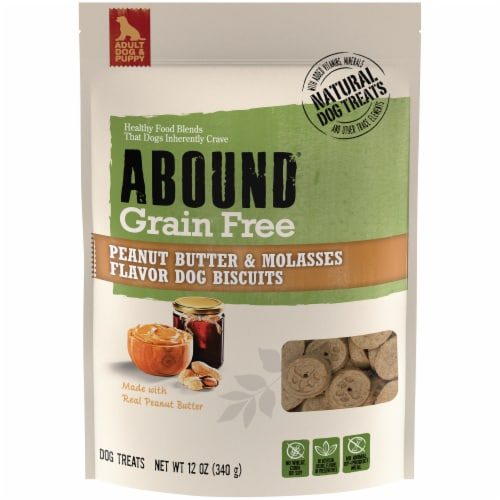 ABOUND® Grain Free Peanut Butter & Molasses Flavor Biscuits Dog Treats Perspective: front