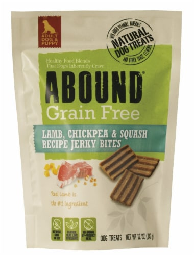 ABOUND® Grain Free Lamb Chickpea & Squash Jerky Bites Dog Treats Perspective: front