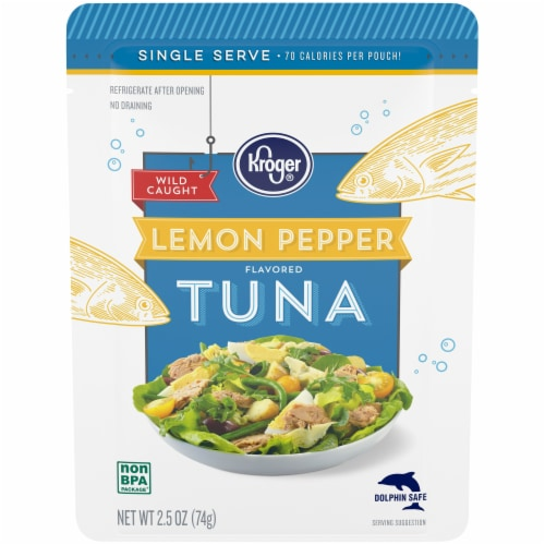 Kroger® Wild Caught Lemon Pepper Flavored Tuna Pouch Perspective: front