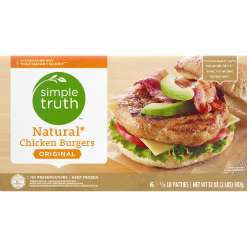 Simple Truth™ Original Natural Chicken Burgers Perspective: front