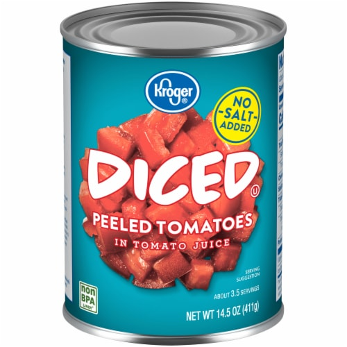 Kroger® No Salt Added Diced Tomatoes Perspective: front