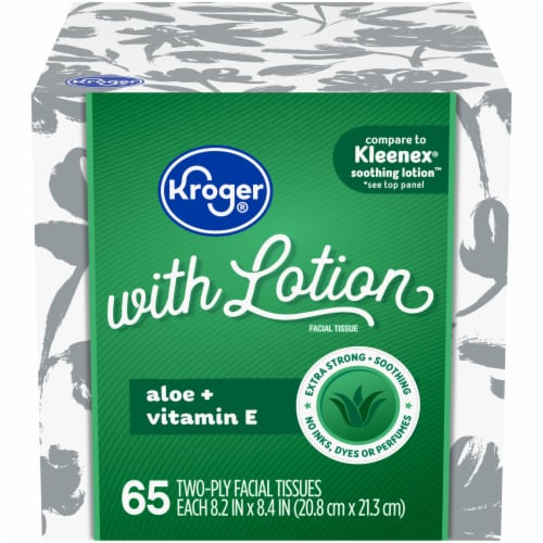 Kroger® White Unscented Facial Tissues With Lotion Perspective: front