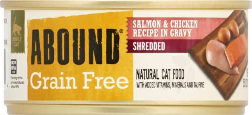 ABOUND™ Grain Free Shredded Salmon & Chicken in Gravy Cat Food Perspective: front