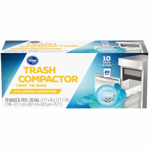 Kroger® Tie Trash Compactor Bags 20 Gal 10 ct Box Perspective: front