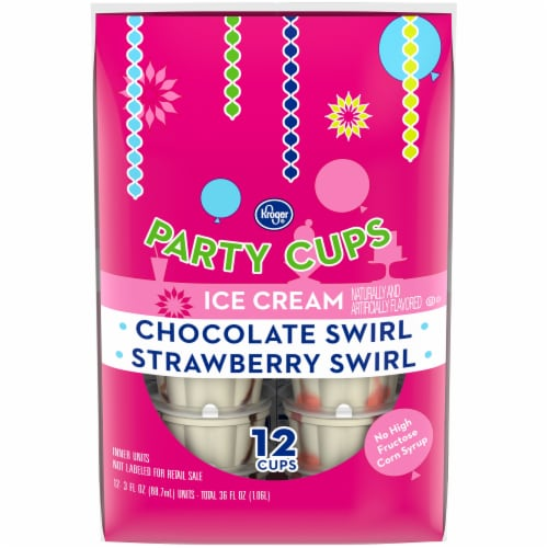 Kroger® Chocolate Swirl and Strawberry Swirl Ice Cream Party Cups 12 Count Perspective: front